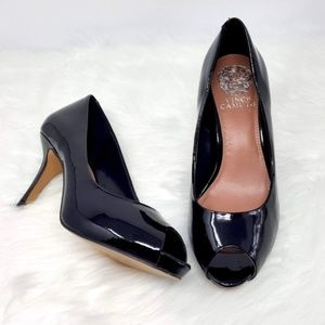 Vince Camuto Kira Black Patent Leather Heels 7.5B